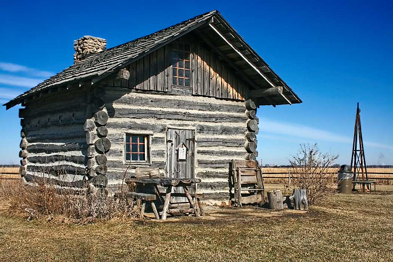 Reconstructed Cragg Cabin at Goose Lake Prairie State Park in Morris, Illinois, which once served as a stop on the old Chicago-Bloomington Teamster Trail
