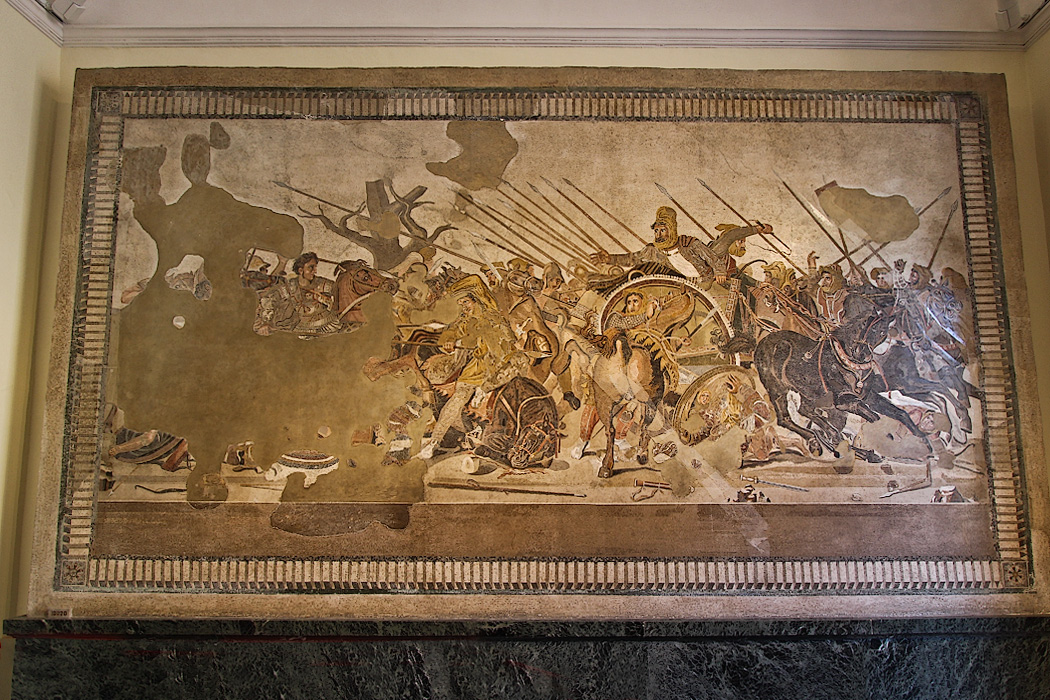 Floor mosaic of the Battle between Alexander and Darius from Pompeii