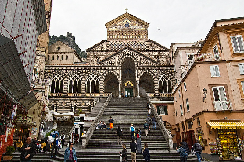 Saint Andrew's Cathedral (the Duomo) in Amalfi, Italy, has a Byzantine facade and a Baroque interior, which is the final resting place for the remains of Saint Andrew