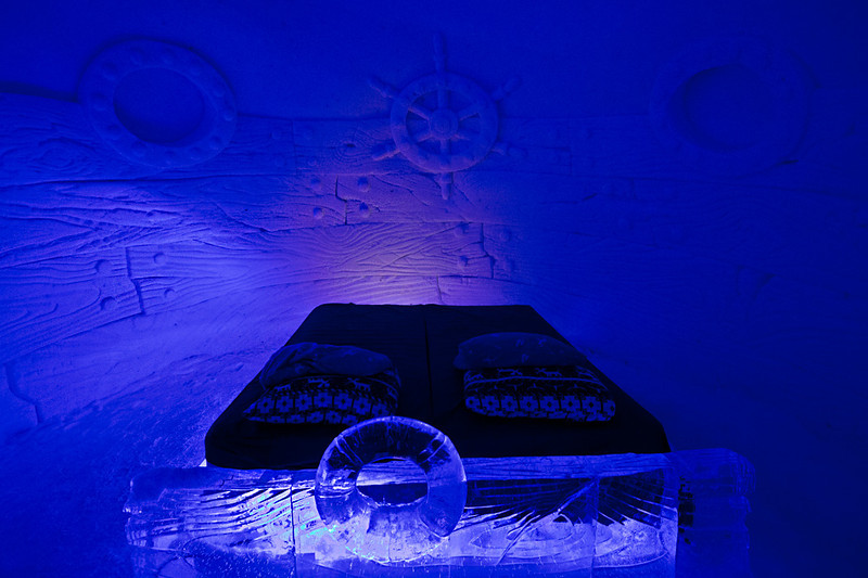One of the ice beds at the Snow Hotel in Kirkenes, Norway - would you sleep here?