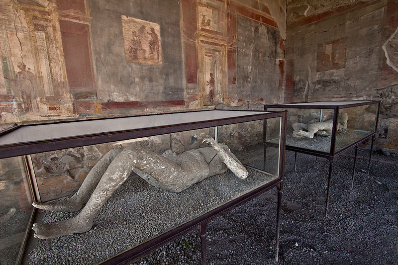 Plaster casts of bodies found during excavations of Pompeii. These were discovered in the Macellum, a large marketplace located aside the Forum.