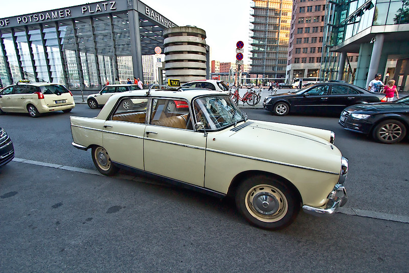 The oldest taxi in Berlin, a 1968 Peugeot