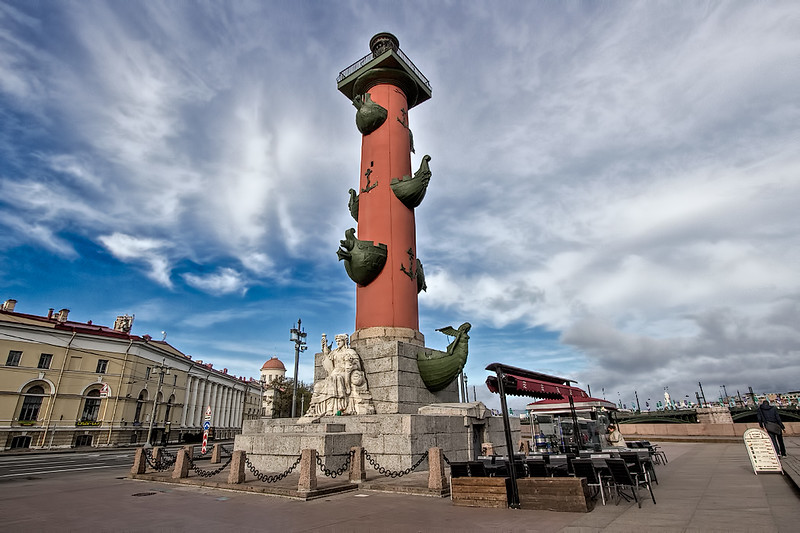 Rostral Column on Vasilyevsky Island in St. Petersburg, Russia, once used as a lighthouse, displays prows of conquered ships to frighten off invaders