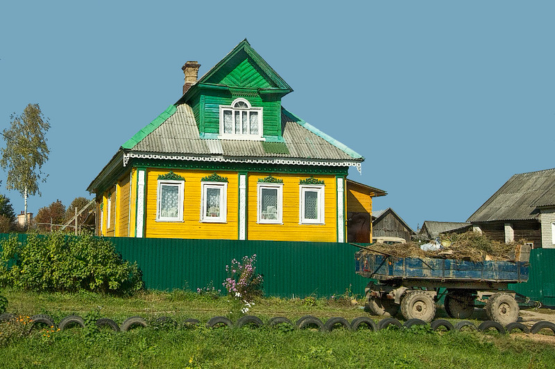Typical single family house in the countryside around Yaroslavl, Russia