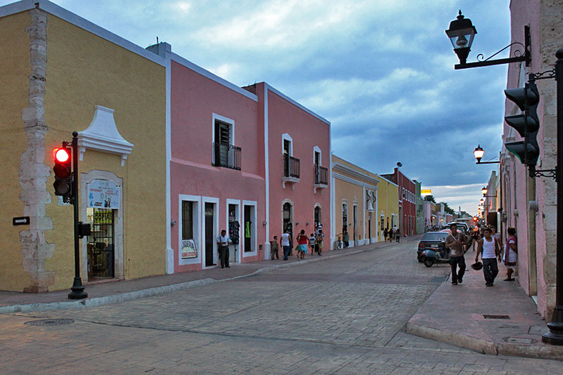 Typical street in Valladolid, Yucatan peninsula, Mexico