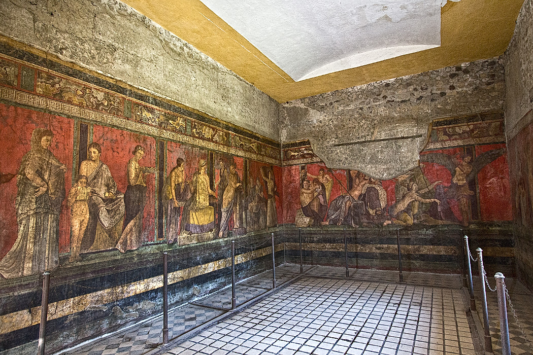 Frescoes in the Villa dei Misteri at Pompeii is notable for the extensive frescoes that survived the eruption of Mount Vesuvius in 79 AD. Though their purpose has been hotly debated, the consensus is that they were used to instruct young women about to be married.