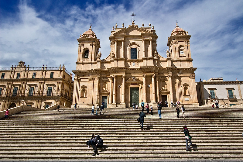Basilica of St. Nicholas in the town of Noto, Sicily, which was rebuilt in the Baroque fashion after an earthquake completely destroyed the original town in 1693.