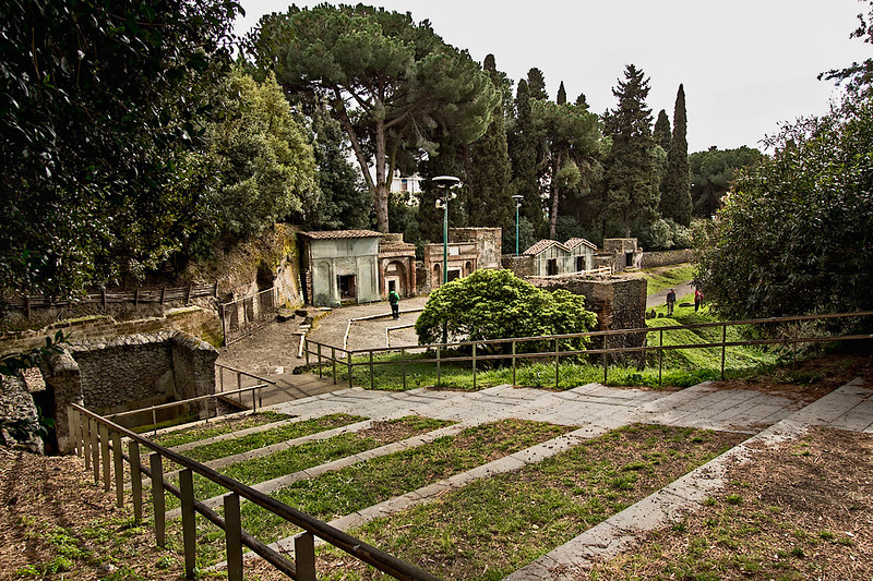 Tombs in the Necropolis at Porta Nocera in Pompeii, one of seven burial areas found in the town that was buried by the eruption of Mount Vesuvius in 79 AD.