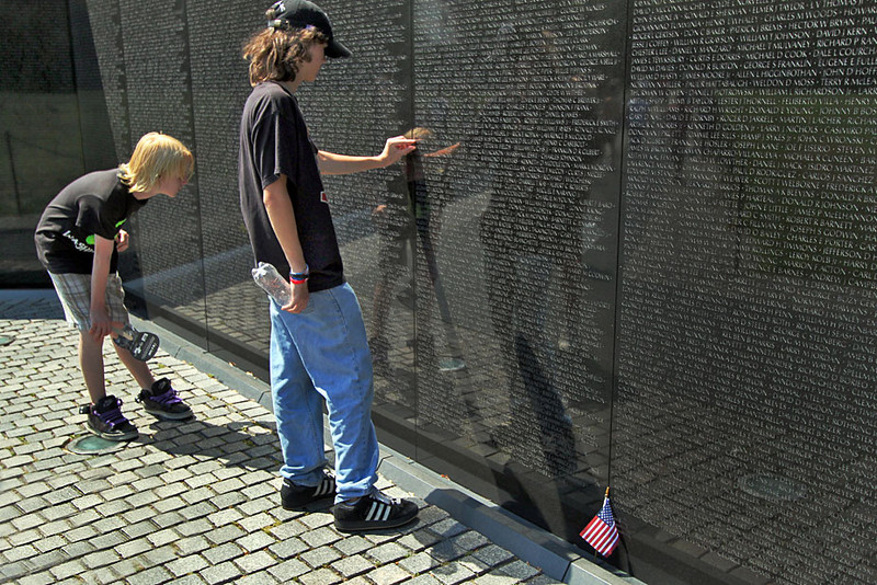 Finding a family member killed in the Vietnam War at the Vietnam Veterans Memorial in Washington, DC
