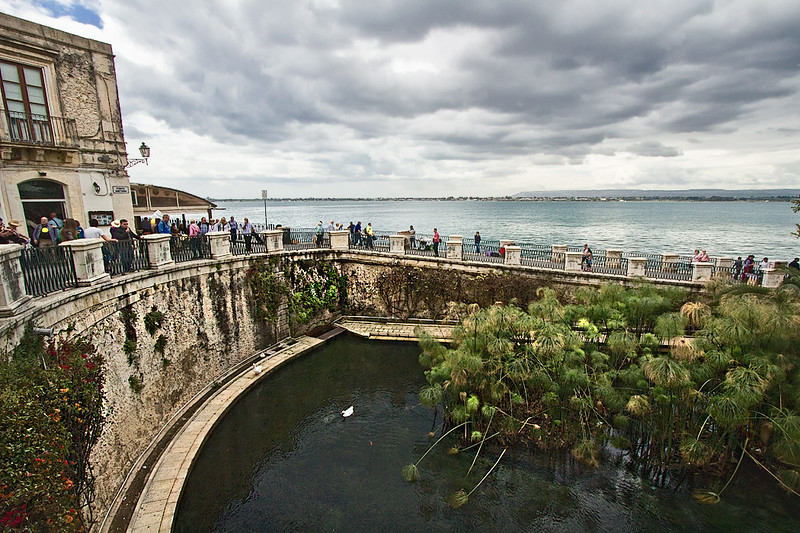 According to mythology, Fonte Aretusa, a fresh-water spring hailing back to the earliest Greek residents of Syracuse, Sicily, was an embodiment of the nymph Arethusa