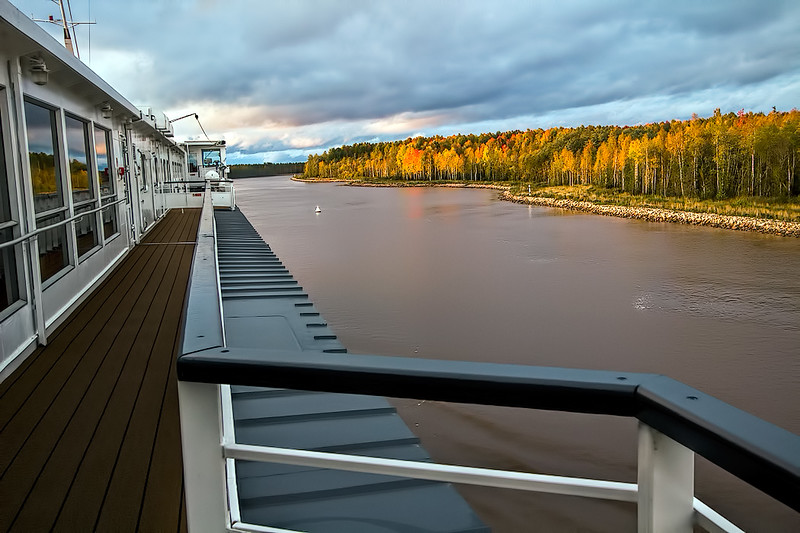 Cruising between Kuzino and Kizhi, Russia on the Volga-Baltic Waterway, a system of rivers and canals that span 229 miles and seven locks, linking the Volga River with the Baltic Sea