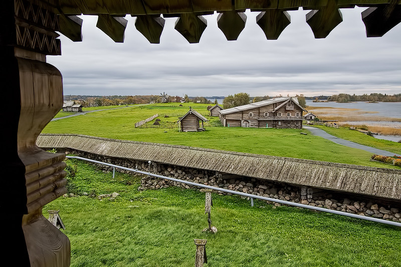 Historic wooden buildings relocated to Kizhi Island, in the center of Lake Onega, Russia, serve as an open-air museum