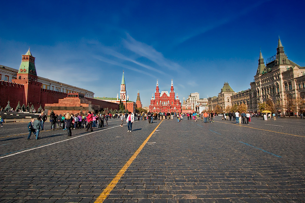 One end of Moscow's famous Red Square: Kremlin and Lenin's Tomb (left); State Historical Museum (center); and the enormous GUM Department Store (right).