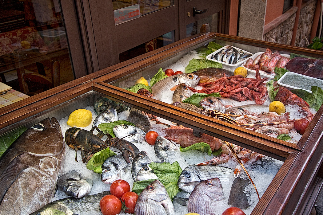 Fresh catch of the day on display at one of the many restaurants in Taormina, Sicily