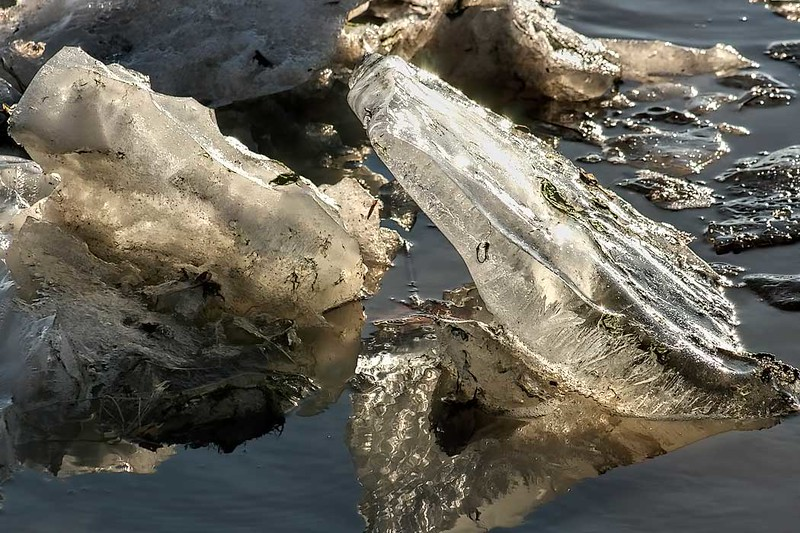 When the thaw comes each spring on the Kankakee River in Wilmington, Illinois, the frozen river breaks up into mini icebergs and crystal ice formations