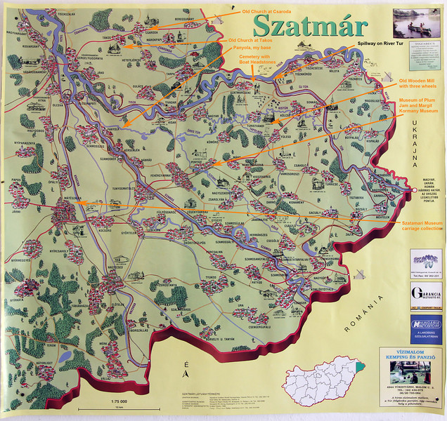 Map of Szatmar Region in far eastern Hungry, showing sites of interest