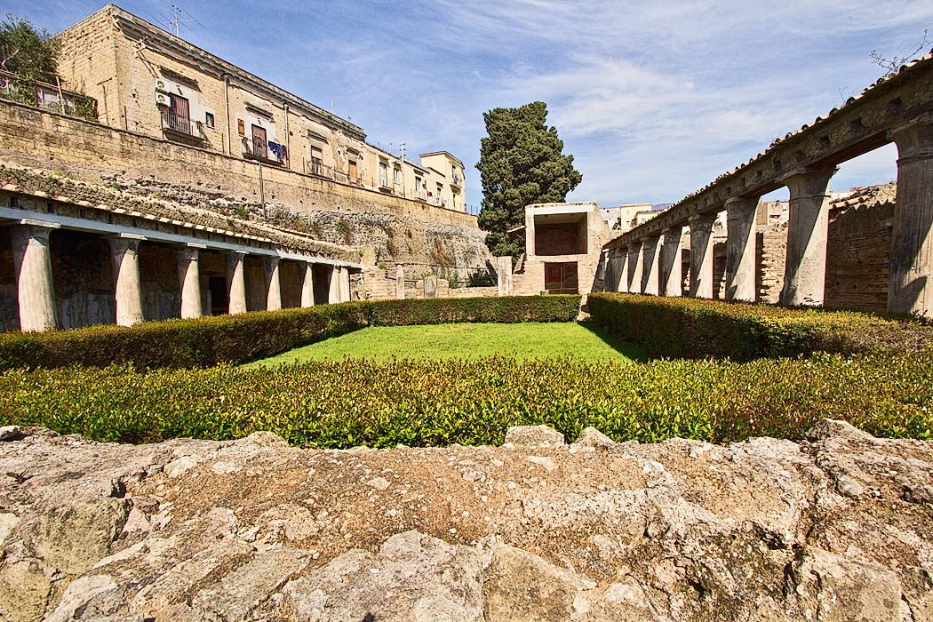 House of Argus, a rich estate at Herculaneum, Italy, buried by the eruption of Mt. Vesuvius in 79 AD