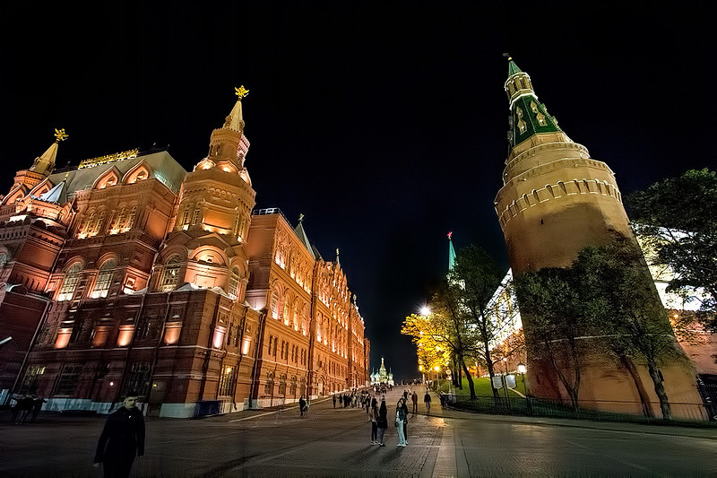 State Historical Museum (left) and Kremlin (right), with St. Basil's Cathedral in the distance, at Red Square, Moscow