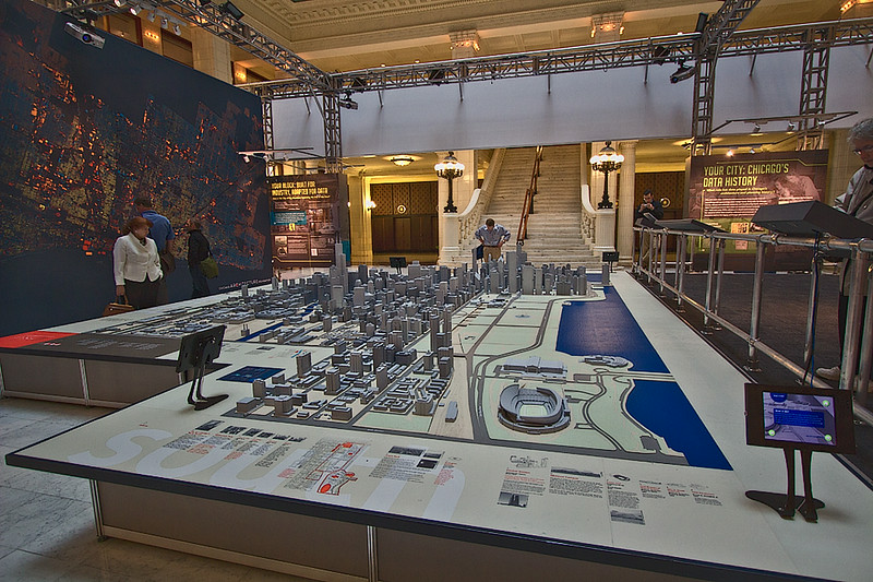 Model of the City of Chicago at the Chicago Architectural Foundation, showing extensive green space along Lake Michigan