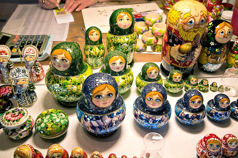 Traditional Matrushka nesting dolls being painted in Mandrogy, a recreated village on the banks of the Svir between Lake Ladoga and Lake Onega, Russia