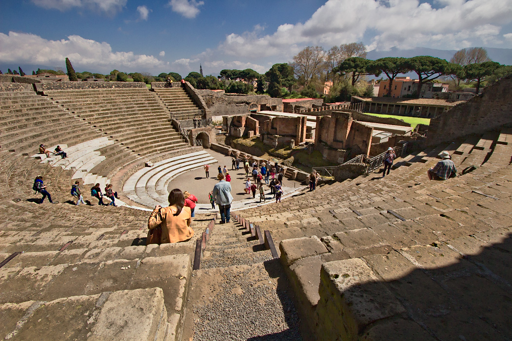 The Great Theater at Pompeii was used for performances as well as political meetings, but is best known as the place of Julius Caesar's murder by the Liberatores of the Roman Senate and elite.