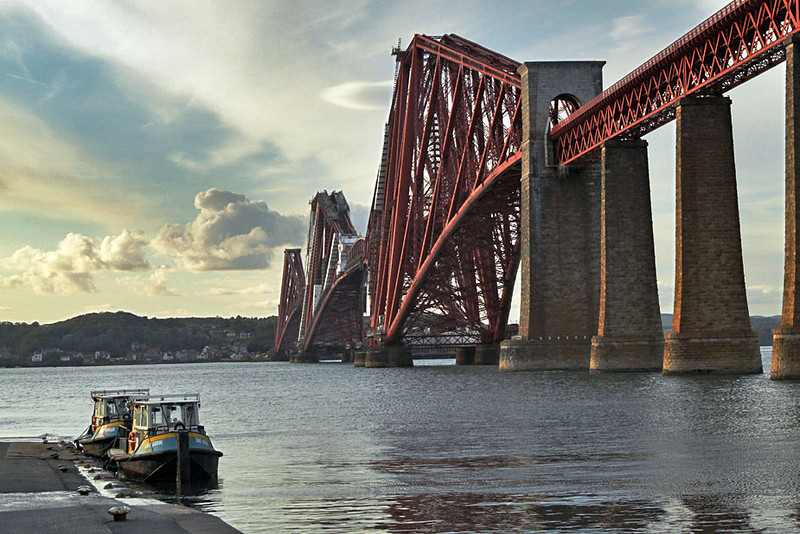 Famous Firth of Forth Bridge in Edinburgh, Scotland