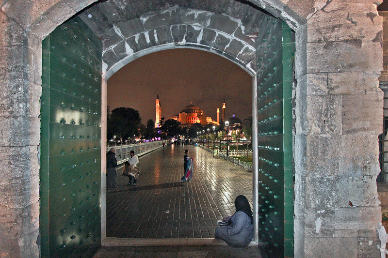 Hagia Sophia Museum, viewed through the door of the Blue Mosque in the historic district of Istanbul, Turkey