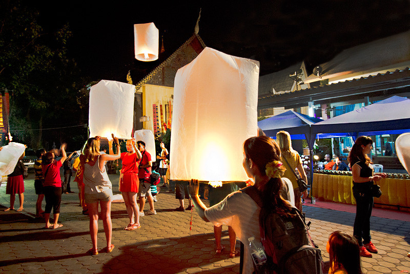 Paper lanterns are launched into the skies over Chiang Mai, Thailand during Yee Peng festival
