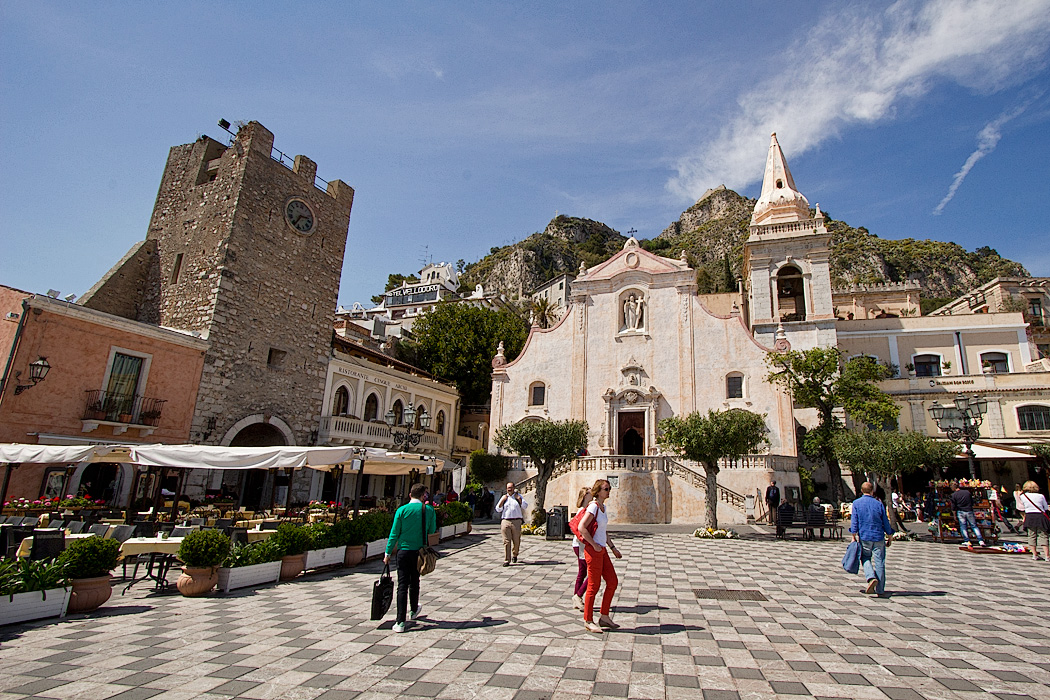Clock Tower and San Guiseppe Church on Piazza IX Aprile in Taormina, Sicily, Italy