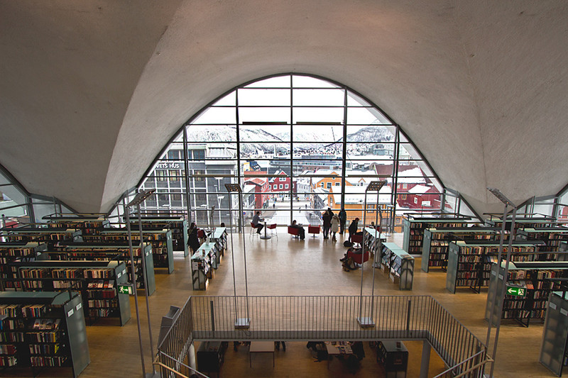 View over Tromso, Norway, seen from inside the city library