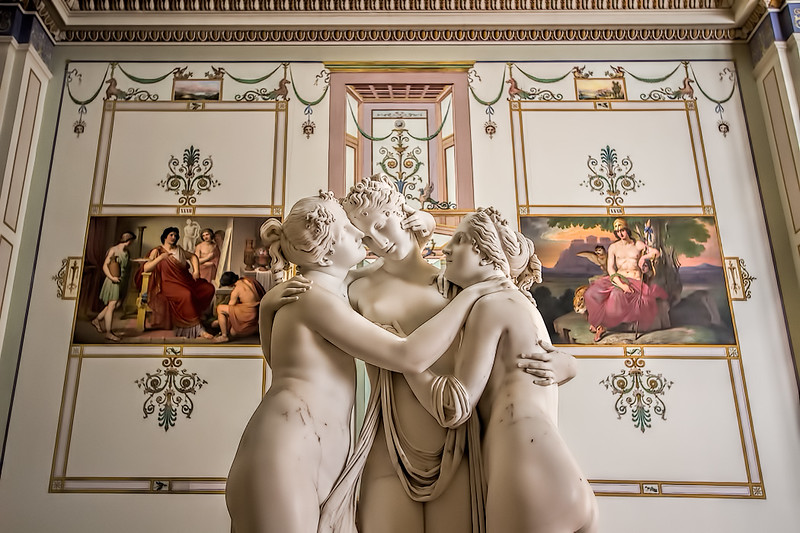 Antonio Canova's sculpture, The Three Graces, in the Hermitage Museum in St. Petersburg, depicts the three daughters of Zeus, said to represent beauty, charm and joy