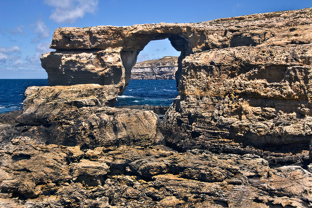 The Azure Window, a wind and wave-carved arch in a limestone promontory on Gozo in the Maltese Islands