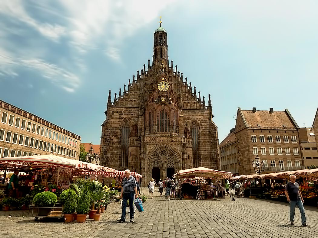 Hauptmarkt and Church of Our Lady, in the city center of Nuremberg, Germany. The market is best known for its gingerbread cookies.