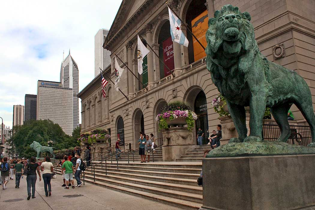The Art Institute of Chicago is housed in a building originally constructed for the 1893 World's Columbian Exposition. Today, the two bronze lions that stand aside its entrance, are among the most recognizable landmarks in Chicago.