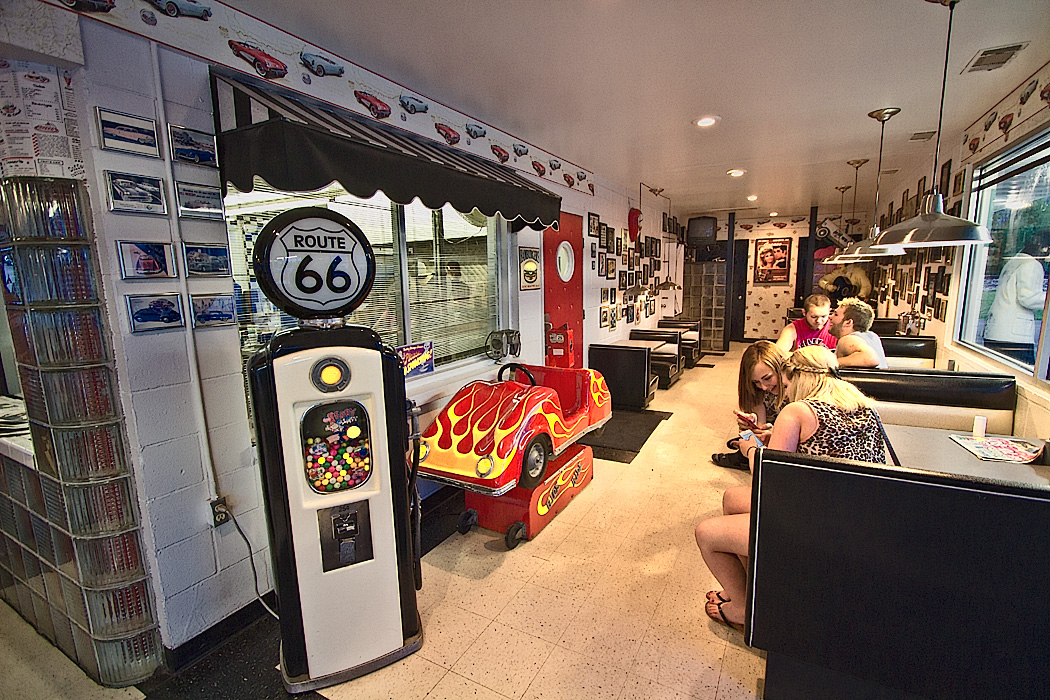 Route 66 memorabilia inside the Polka Dot Drive-In on old Rt. 66 in Braidwood, Illinois