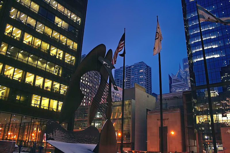 "The ""Chicago Picasso,"" a sculpture by Pablo Picasso, stands in the center of Daley Plaza in downtown Chicago"