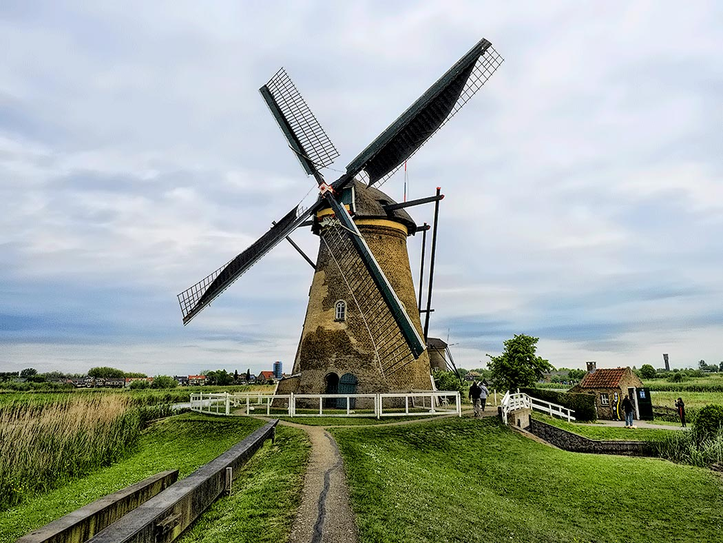 Windmill in Kinderdijk, Netherlands, is one of 19 built in 1740 to keep the lowlands of southern Holland from flooding