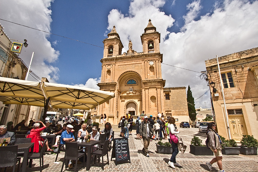 Cathedral Square during the weekly Sunday market in the picturesque fishing village of Marsaxlokk on Malta