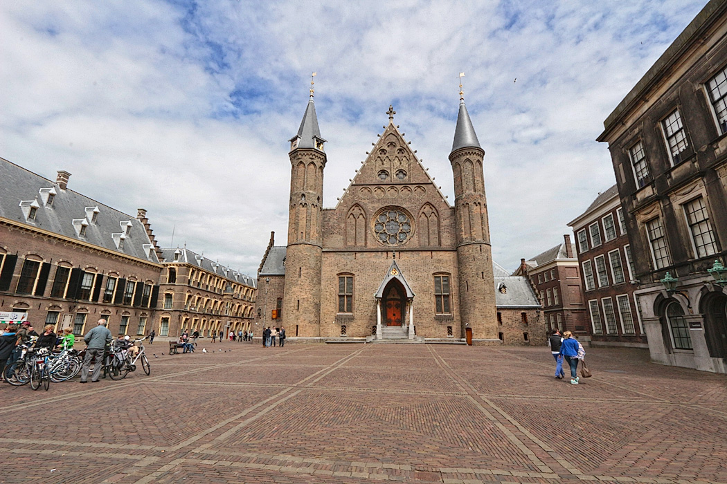 Ridderzaal (Knight's Hall), from the courtyard of the Binnenhof in The Hague, Netherlands