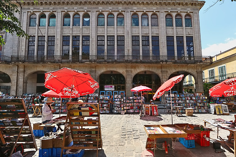 Booksellers surround Plaza de Armas in Old Havana, Cuba