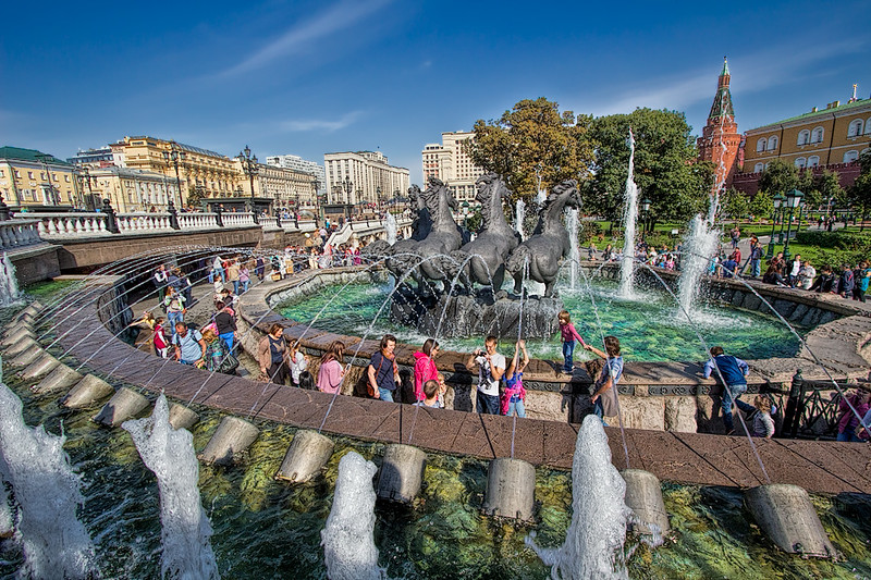 Fountain featuring four galloping horses in Aleksandrovsky Garden, next to the Kremlin in Moscow