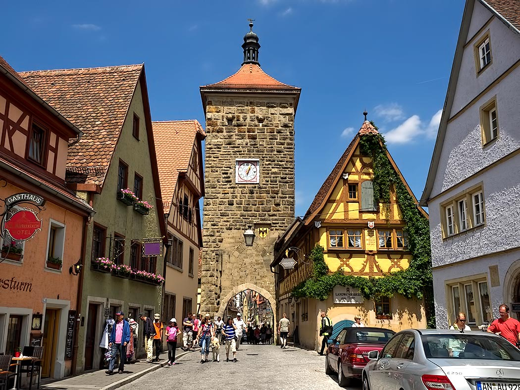 Siebers Tower is one of many entrances to the medieval city walls in pretty Rothenburg ob der Tauber, Germany