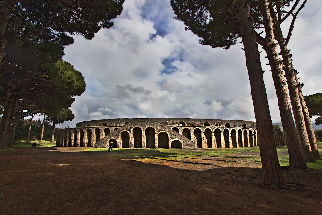 The ancient Roman amphitheater at the Pompeii ruins in Italy