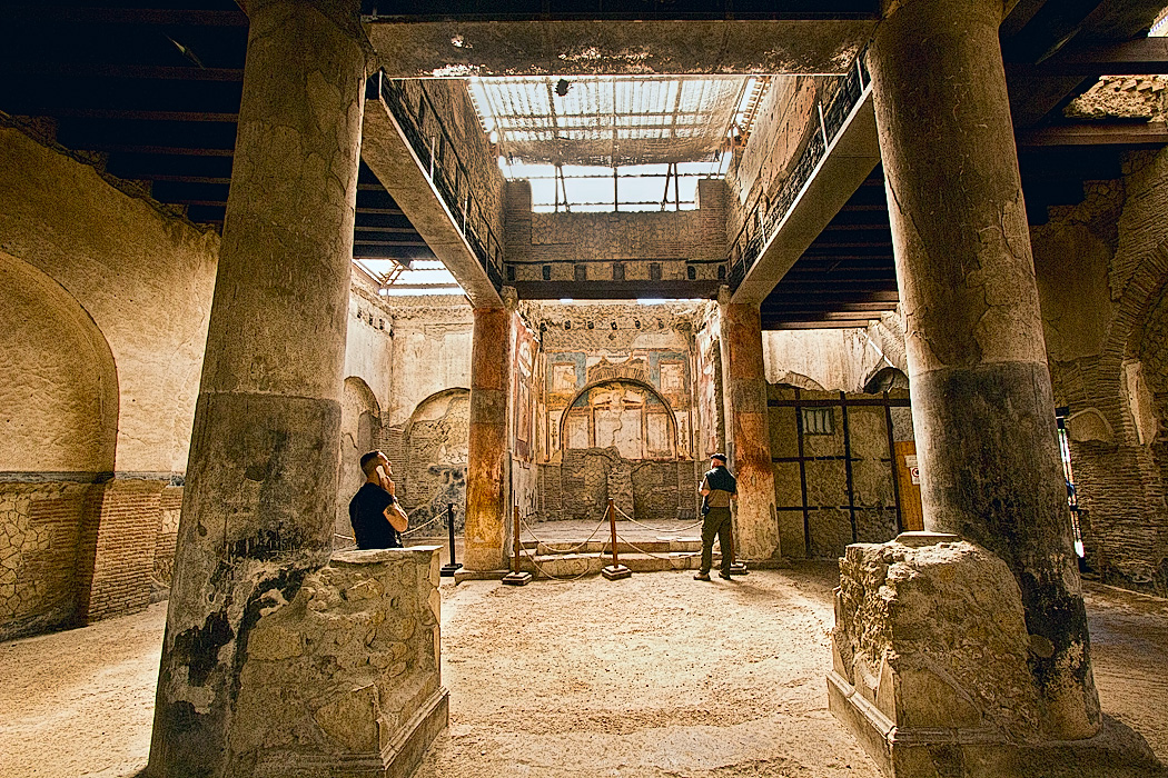 Hall of the Augustals at Herculaneum, a gathering place for freed slaves