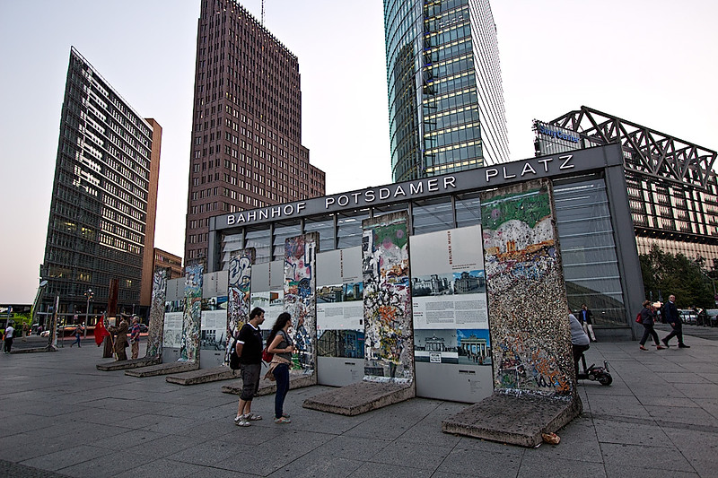 Berlin Wall memorial display on Potsdamer Platz, one of the largest and most famous squares in Berlin