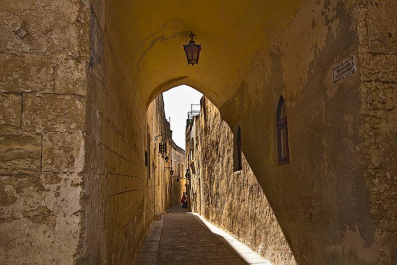 Narrow, winding passageways like this one riddle the walled city of Mdina on the island of Malta