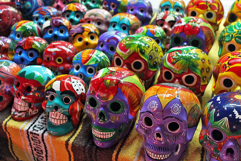 "Ceramic skulls celebrate the important ""Dia de los Muertos"" (Day of the Dead) holiday in Playa del Carmen, Mexico"