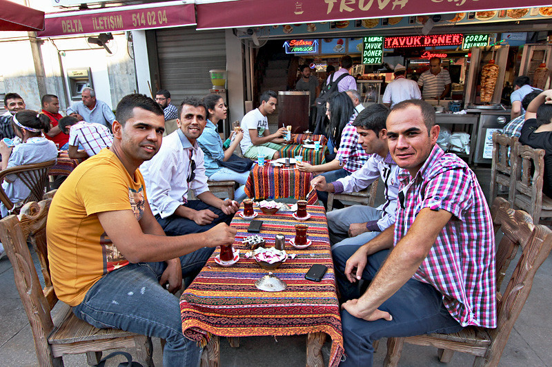 Turkish men in Istanbul take an afternoon tea break