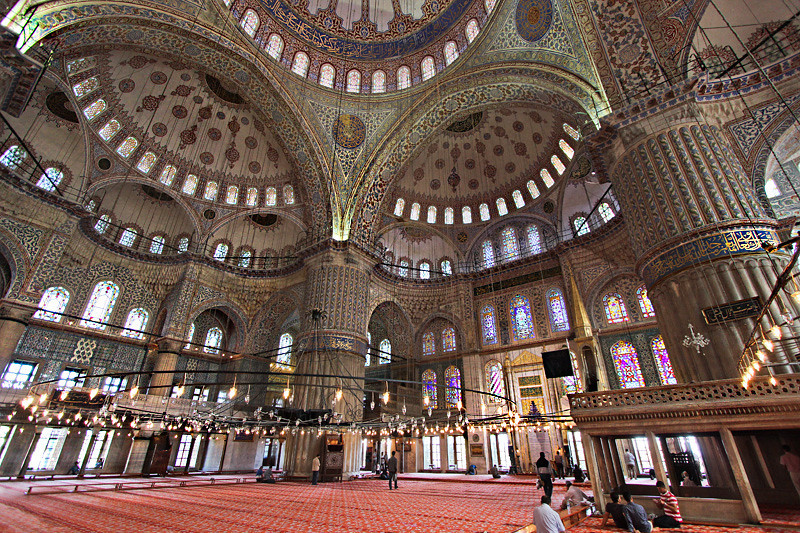 Interior of the magnificent Sultan Ahmed Mosque in Istanbul, Turkey, commonly known as the Blue Mosque
