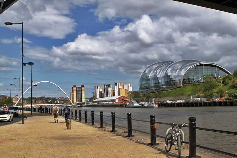 Bass Music Center (right) and Gateshead Millennium Bridge on Quayside in Newcastle, England
